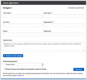 Screenshot of the registration form showing the Adjustments text box in the middle of the form.