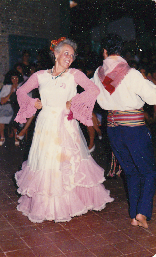 Mom dancing barefoot in Paraguay