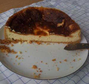 Half-gone cheesecake